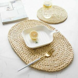 Set of 4 Oval Straw Woven Placemat Dining Table Mats Heat Insulation Pad Kitchen