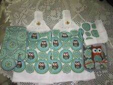 5-PC. HANGING KITCHEN TOWELS+ OWL +GREAT GIFT* CROCHETED WHITE TOPS **NEW