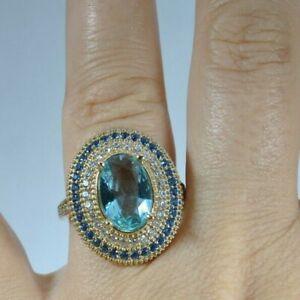 Turkish Handmade Jewelry 925 Sterling Silver Aquamarine Stone Women Ring Size 7