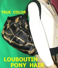CHRISTIAN  LOUBOUTIN pony hair fur leather purse shoulder bag boho zebra tiger