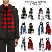 Power Club Men's Supper Soft Fleece Unisex Plaid Fringed Scarves 2 Pack