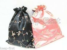 Classic 2pcs Black & Pink Embroidered Silk jewelry Pouch/Purse /Shoes Rope Bags