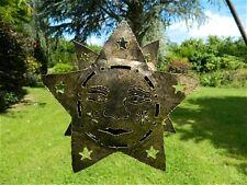 Star Sun Metal Tea light Candle Holder Garden Lantern -  Gold Star Sun Face