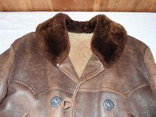 Barnstormer Coat / Jacket Leather Circa 1940s Shawl Collar Sheepskin