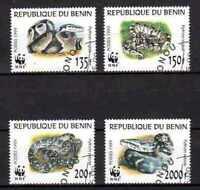 Animales Serpientes Benin (40) serie completo 4 sellos matasellados