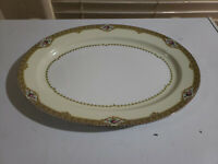 """Meito China Hand Painted Made in Japan Oval Shape 16"""" Long Serving Platter"""