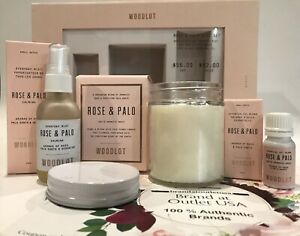 💯WOODLOT Rose & Palo Gift Set 3-Pc Candle, Essential Oil & Everyday Mist $82