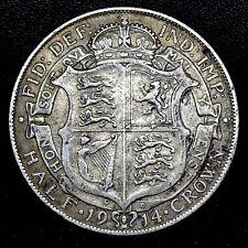 GREAT BRITAIN~ 1914 HALF CROWN 0.925 SILVER COIN ~ GEORGE V~  KM # 818.1