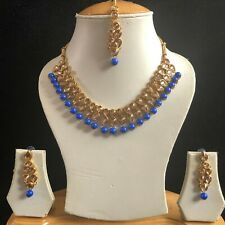 BLUE GOLD KUNDAN INDIAN COSTUME JEWELLERY NECKLACE EARRINGS CRYSTAL SET NEW 901