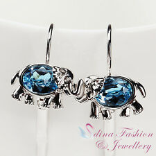 18K White Gold GP Made With Swarovski Crystal Aquamarine Elephant Hoop Earrings