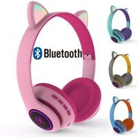 Cute Cat Ear Gaming Wireless Bluetooth Headset With Mic LED Lighting Headphones