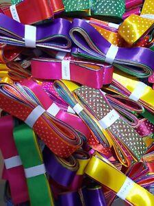 10 x 1 Metre SATIN & ORGANZA Mixed Ribbon Bundle Easter Xmas Wedding B'day Tying