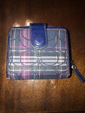 Coach Navy Blue & Pink Tartan Plaid Mini Wallet ID credit cards coin pre owned