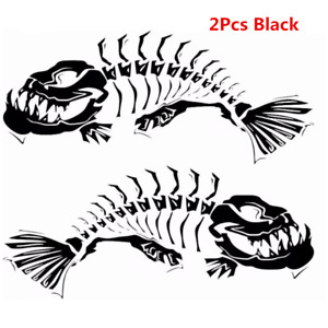 2pcs Universal Waterproof vinyl Car Body Kayak Skeleton Fish Boat Decals Sticker