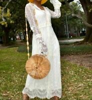 BNWT ZARA ECRU LACE EMBROIDERED DRESS WITH BELL SLEEVES SIZE S