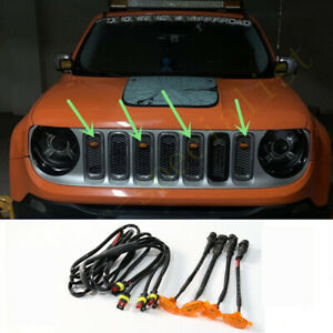 For Jeep Renegade 2015-2021 Front Grille LED Light Raptor Style Grill Cover 4Pcs