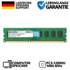 4GB DDR3 RAM DIMM UDIMM - PC3-12800U 1Rx8 - 1600 MHz 1.5V Arbeitsspeicher NEU