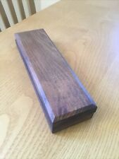 More details for large vintage oil honing sharpening stone in wooden box with bevelled edge