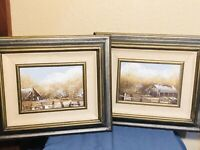 Vtg 2 Landscape Oil Painting Signed Wood Framed Fall Rustic Farm House And Barn