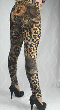 15572 Leggings Sexy Innenfleece Leggins Leopardenmuster Dick Thermo Winter