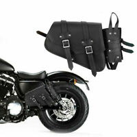 Motorcycle Side Saddle Bag Waterproof Genuine Leather Motorbike Luggage Bag Blk