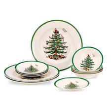 Spode Christmas Tree 12 Piece Set (4 x 27cm Plates, 16cm Plates, Cereals)