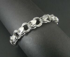 Vintage A & Z Triple Link with Textured Hearts Sterling Silver Charm Bracelet