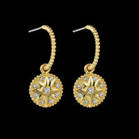 Earrings Nails Small Creole Star Gold Plated White Cz White G9 C