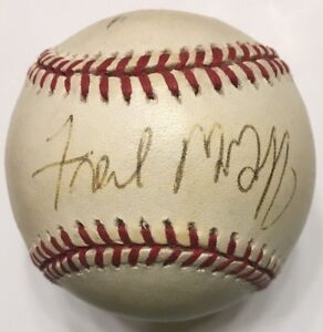 FRED MCGRIFF Signed Autographed Baseball Beckett C87634 Blue Jays Cubs Dodgers