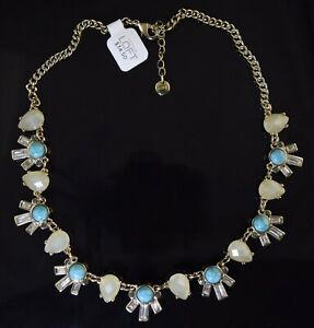 Soft Pink Rhinestone Bib Necklace LOFT Gray 18\u201d Gold tone Vintage Beige Glass Bead