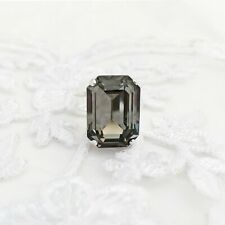 Rectangle Black Diamond Ring With CRYSTALLIZED™ Swarovski Elements Grey Gift Box