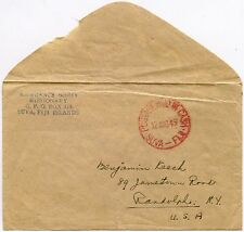 FIJI MISSIONARY BORST RED POSTAGE PAID IN CASH HANDSTAMP to USA 1949