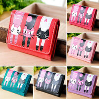 Clutch Change Coin Cards Bag Women Purse Ladies Handbag Cute Cats Kitty Wallet