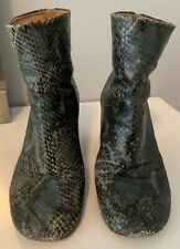 Maison Margiela Green Python Print Sock Ankle Boots Size 6 1/2