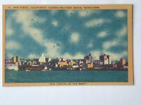 Vintage Linen Postcard Military Aerial Maneuvers San Diego California 1940's