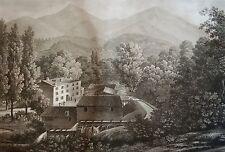 SALATHÉ : LA FORGE DE QUILLAN. D'apres MELLING. Aquatinte originale de 1826.