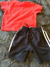 Baby Boys Diesel T-shirt Red 12m & Navy Adidas Shorts UK 17""