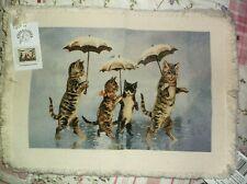 NEW Stevens PLACEMATS  Raining Cats   50/50  Set of 4