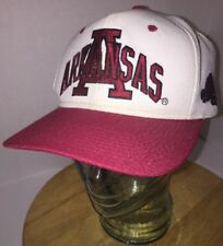 Vintage ARKANSAS RAZORBACKS 90s White Red Hat Cap Snapback SPELL OUT Cardinal