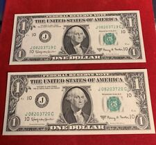 2x 1963 $1 One Dollar Notes - - Consecutive Sequential -