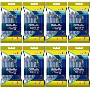 8 Packs Gillette Blue II Plus Fixed 2-Blade Disposable Razor (Total 48 Razors)