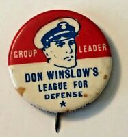 "Very Scarce Don Winslow of the Navy ""Group Leader"" Button.  c 1940"