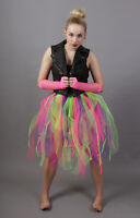 ADULT/CHILD FAIRY RAINBOW PUNK NET TUTU SKIRT - CHOOSE LENGTH + WAIST - UK MADE