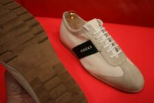 $749.00 !! GUCCI MEN'S SIDE RIBBON OFF WHITE LEATHER CANVAS  SNEAKERS SIZE 8.5 D
