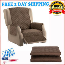 Quilted Furniture Protector Cover Recliner Sofa Reversible & Elastic Strap Chair