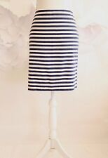 TALBOTS Striped Nautical Straight Pencil Skirt Career Women's Sz 8P Blue/White