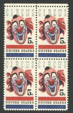 Vintage Unused US Postage Block 5 Cent Stamps CIRCUS CLOWN FACE