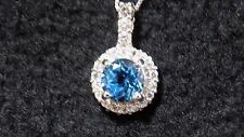 "7mm 2ct Blue Topaz Pendant Sterling Silver with 18"" chain"