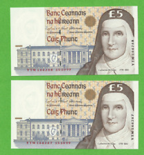 1999 Irish Five Pound Notes £5 Pair In Sequence Consecutive C Series Ireland