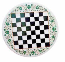 "18"" Marble Chess Game Table Top Malachite Pietra Dura Inlay Handmade Work"